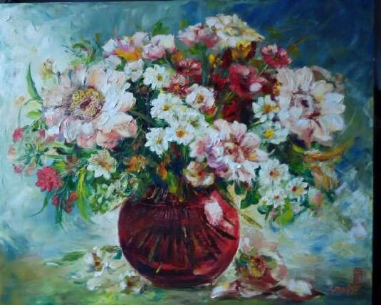 Red Vase of Love by Chong Hoo - Indonesian Collector Art
