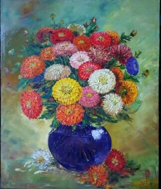 Blue Vase of Unity by Chong Hoo - Indonesian Collector Art