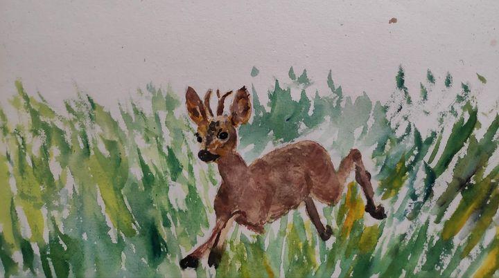 Running deer - Zertab's Watercolor Works