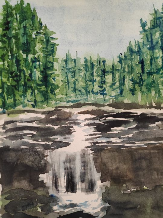 Waterfalls in a forest - Zertab's Watercolor Works