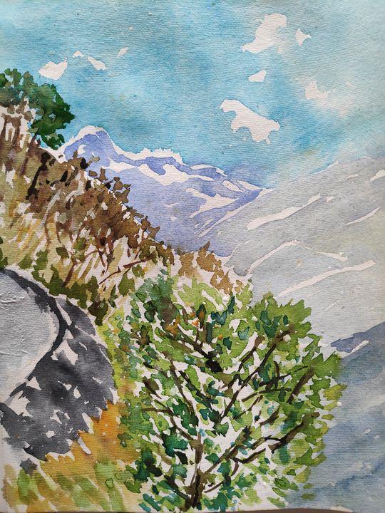 A Walk in Ghandruk - Zertab's Watercolor Works