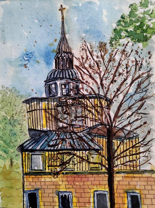 Church in Providence College - Zertab's Watercolor Works
