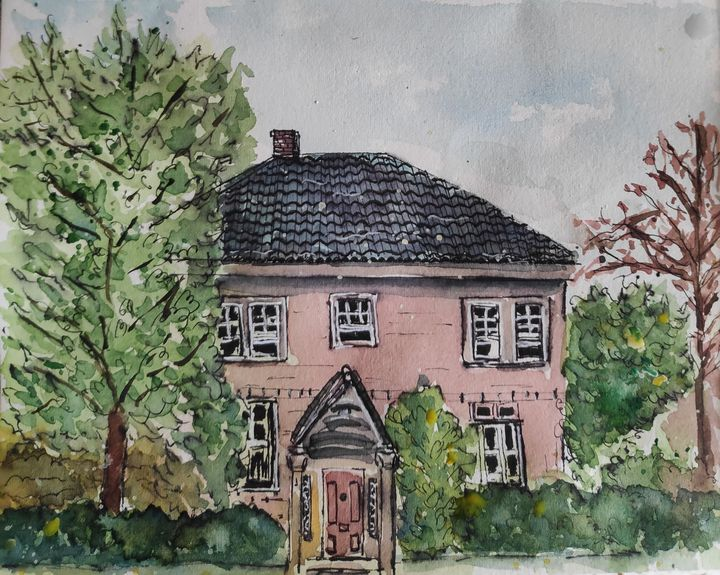 A house in Providence. - Zertab's Watercolor Works