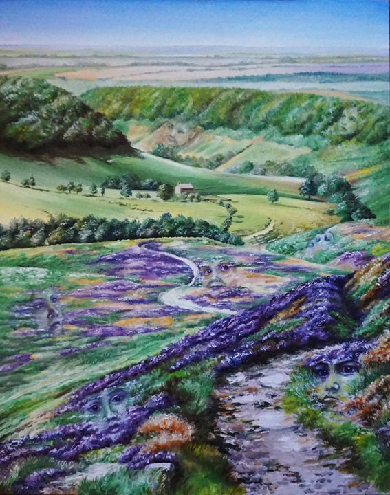 Pareidolia in Horcum in Purple 20x16 - Jayne Farrer