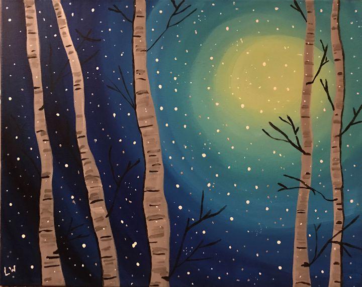 Winter Birch Snow Stars - ApLo607