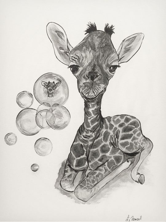 Fun with Bubbles - Giraffe - Lj Feasel - Artist