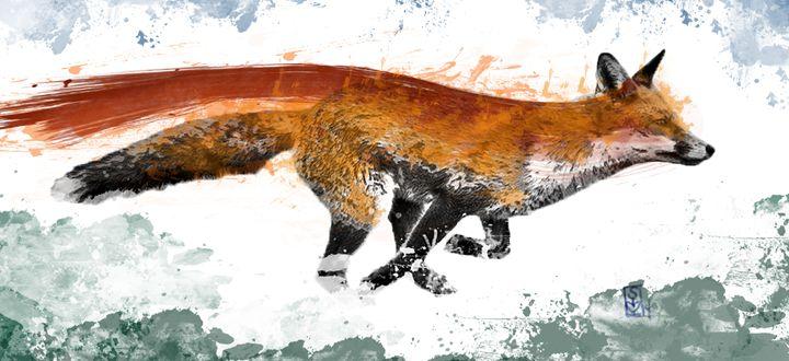 Running Fox Watercolor - Sierra Kay Art