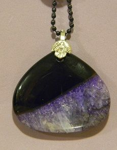 Black & Purple Agate Druzy Pendant - Auntie Bump's collection