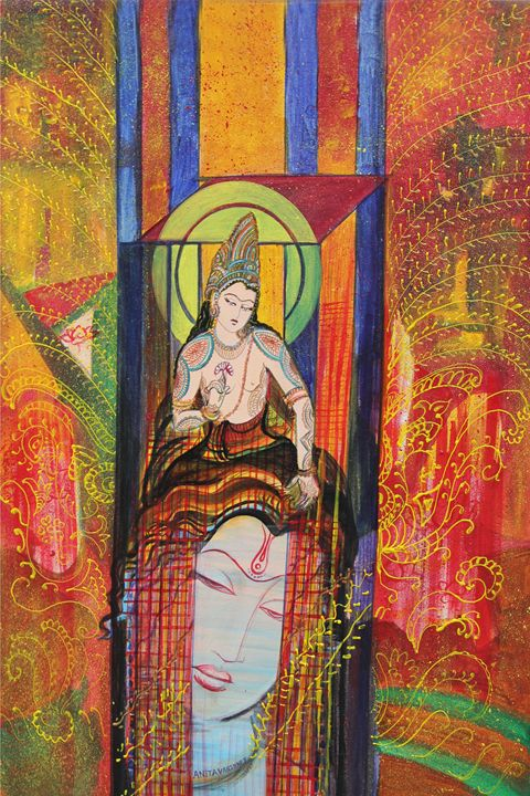 Meditation brings you near to God - Paintings by Dr. Anita Varshney (AVA-Art Gallery)