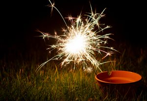 Sparkler in a plant pot