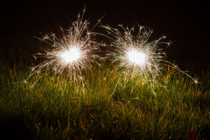 Sparklers in the grass - S. Lyons Photography