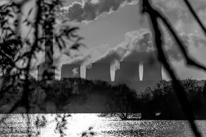 Power plants over a lake