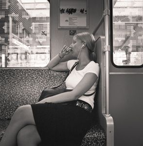 Berlin: woman on ubahn