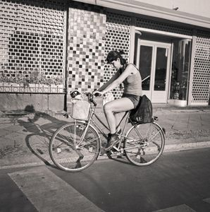 Berlin: woman on bike