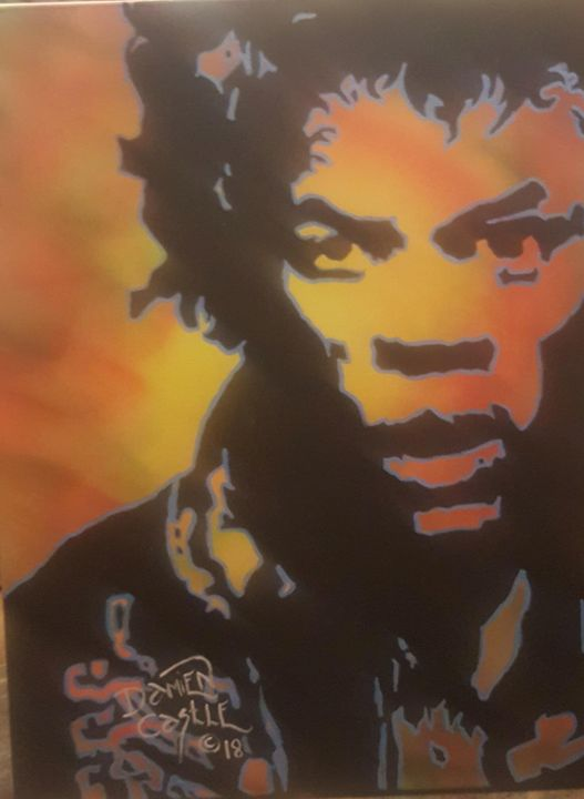 Jimi Hendrix portrait - Dark Castle Art