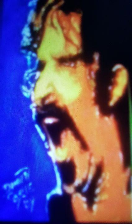 Frank Zappa with Blue Background - Dark Castle Art