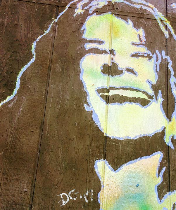 Janis Joplin on wood - Dark Castle Art