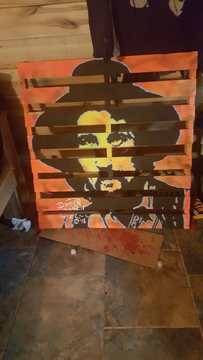Waylon Jennings portrait on a Pallet - Dark Castle Art