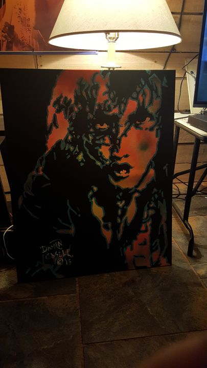 Angus Young of AC/DC - Dark Castle Art