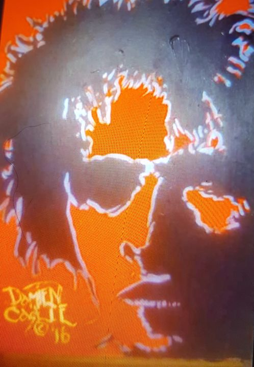 David Bowie in orange and black - Dark Castle Art