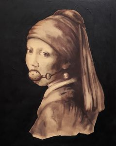 Girl with pearl earring and gag