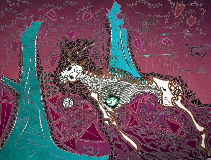 The Hunt - Pink & Teal - Spannings Gallery