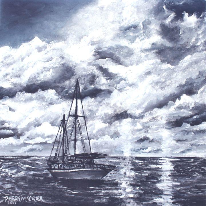 Sailing sailboat at night - Watercolor-Art