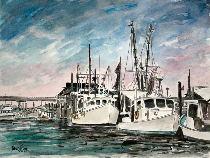 Gulf Coast Shrimp Boats - Watercolor-Art