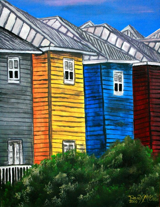 Beach houses - Watercolor-Art