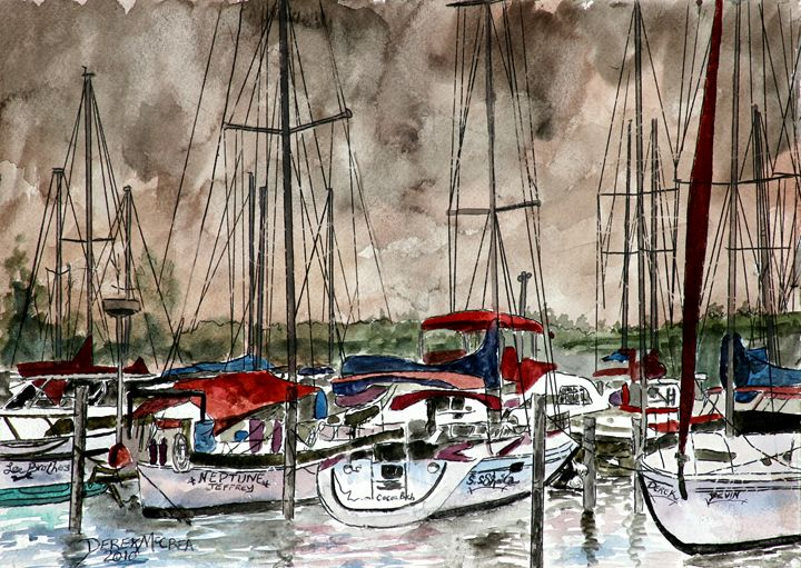 Sailboats red white and blue - Watercolor-Art
