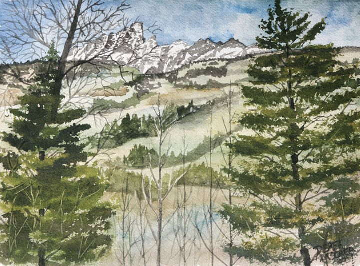 Mountain watercolor snow painting - Watercolor-Art