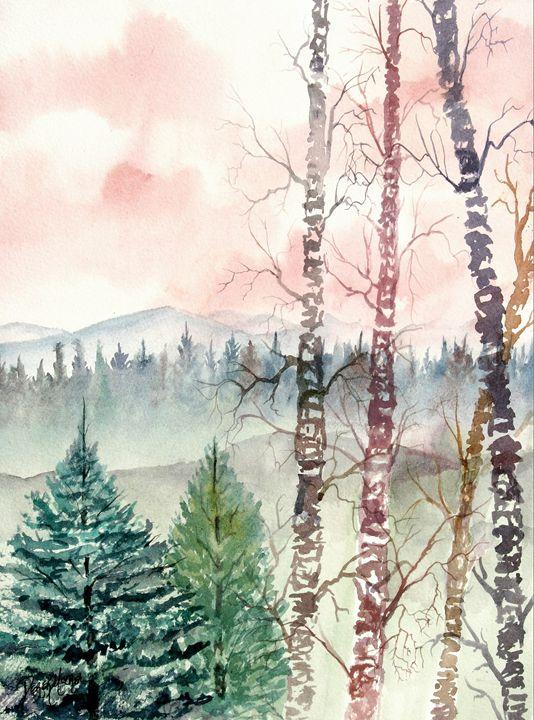 Birch trees landscape painting - Watercolor-Art