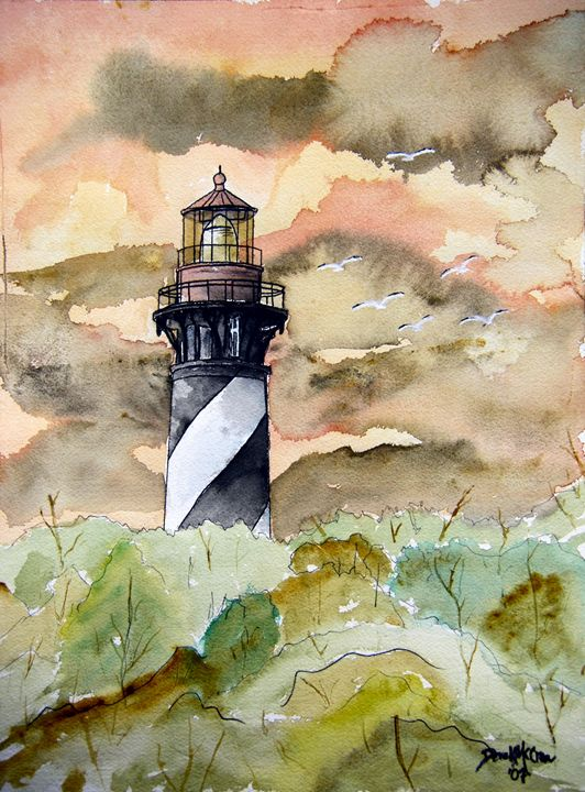 Saint Augustine Lighthouse - Watercolor-Art