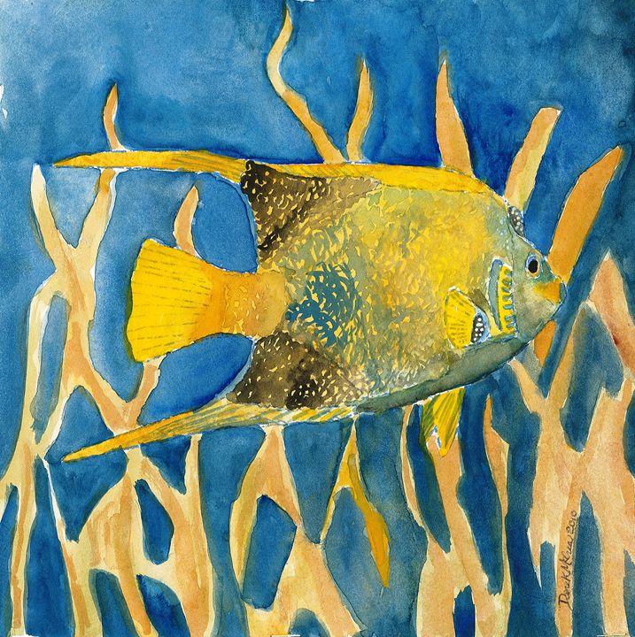 Tropical fish square beach art print - Watercolor-Art