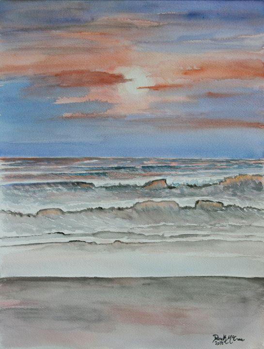beach sunset painting - Watercolor-Art