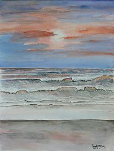 beach sunset painting