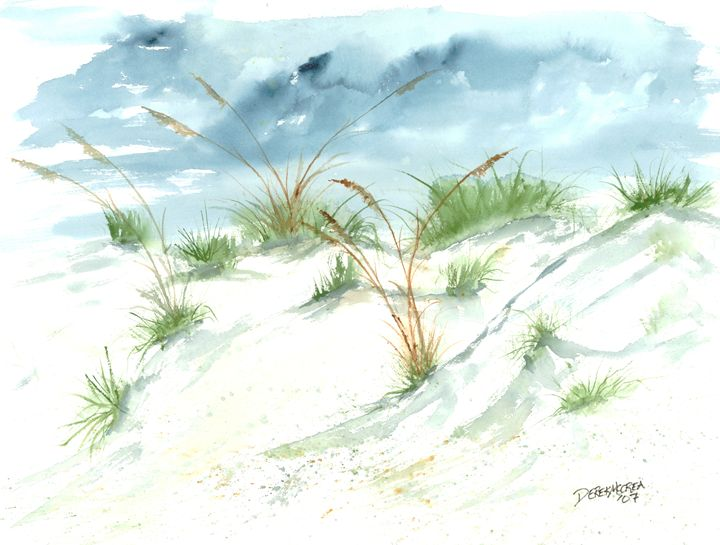 Beach sand dunes painting - Watercolor-Art