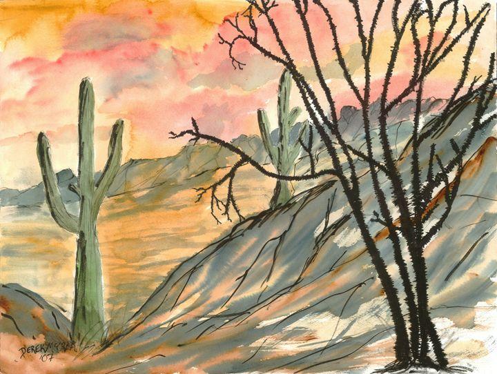 Southwestern Landscape Art - Watercolor-Art