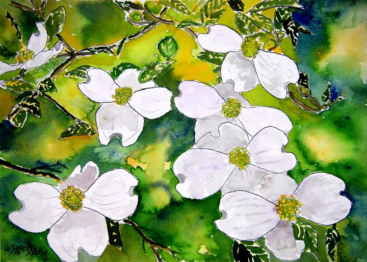 Dogwood Tree Flowers - Watercolor-Art