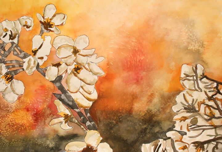 Japanese Cherry Blossom Flowers - Watercolor-Art