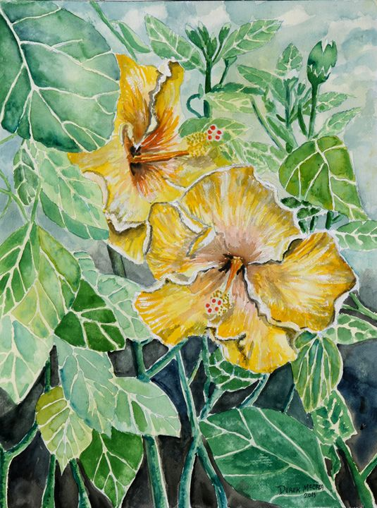 Hibiscus flower - Watercolor-Art