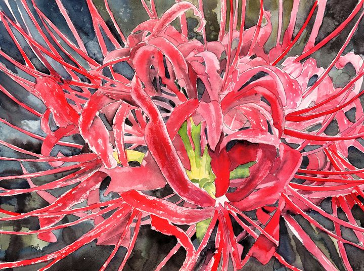 Red Flower Art - Watercolor-Art