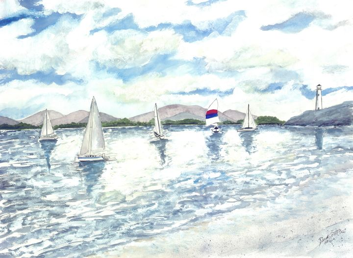 Sailboats sailing seascape painting - Watercolor-Art