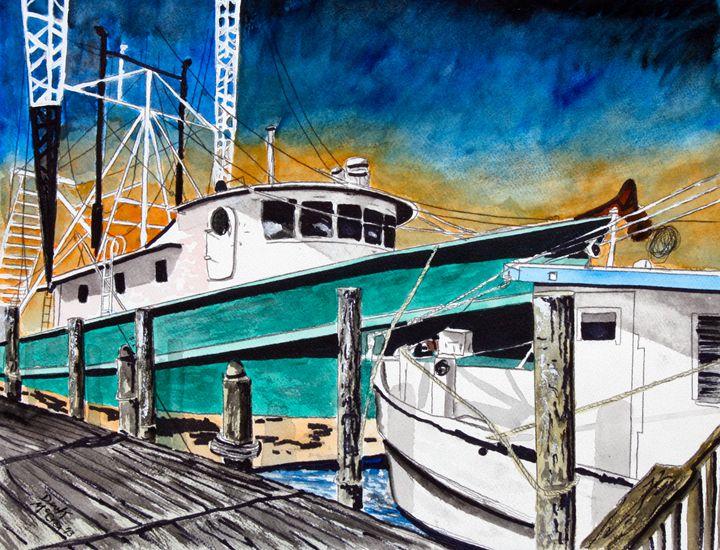 Fishing shrimp and sail boat - Watercolor-Art
