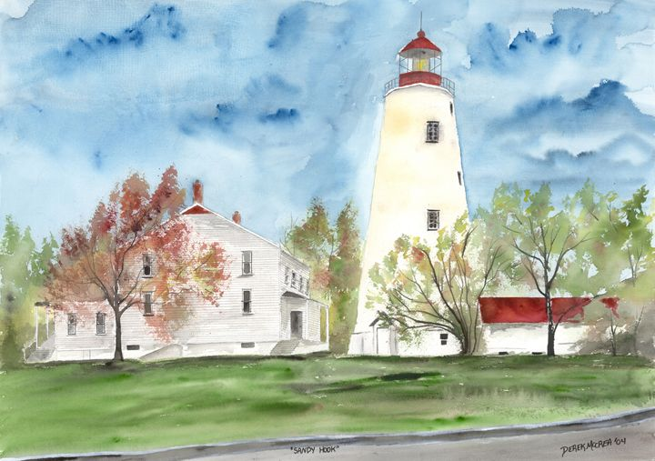 Sandy Hook Lighthouse landmark - Watercolor-Art