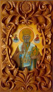 Icon St. Nicholas, wood carving - UNIKAT