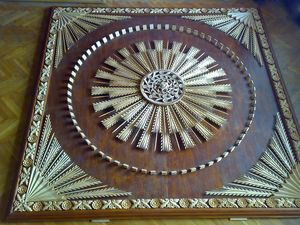 Sun - shaped carving, ceiling