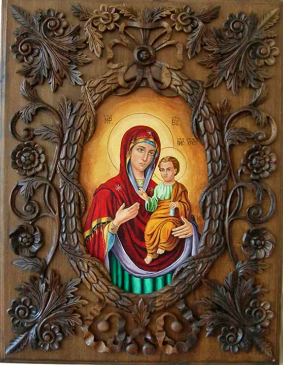 Icon Virgin Mary, wood - carving - UNIKAT