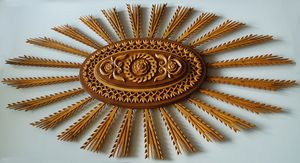Rosette, wood carving for ceiling - UNIKAT
