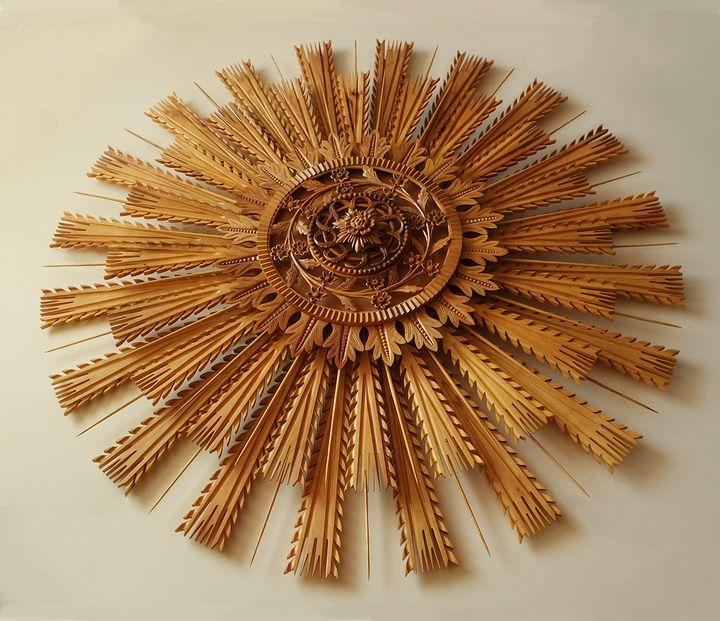"Wood carving, rosette ""sun"", walnut - UNIKAT"
